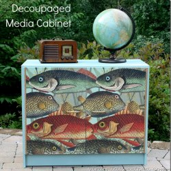 Media Cabinet Makeover with Decoupage , Sweet Pea