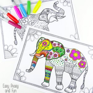 1 Free Elephant Coloring Pages