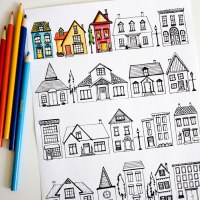 22 Houses Free Coloring Page