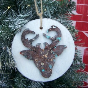 Gift Tag. Christmas Ornament Rustic Monogram /'S/' Holiday Wood Slice Stained Gray and Silver w Glitter Accent Twine Hang Strap Included