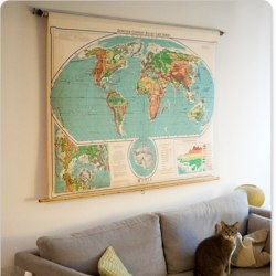Repurposed school and classroom project ideas 13 pull down classroom world map gumiabroncs Image collections